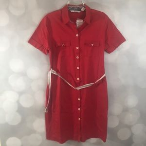 Red Button Down Collared Shirt Dress *WiTH pOCKetS